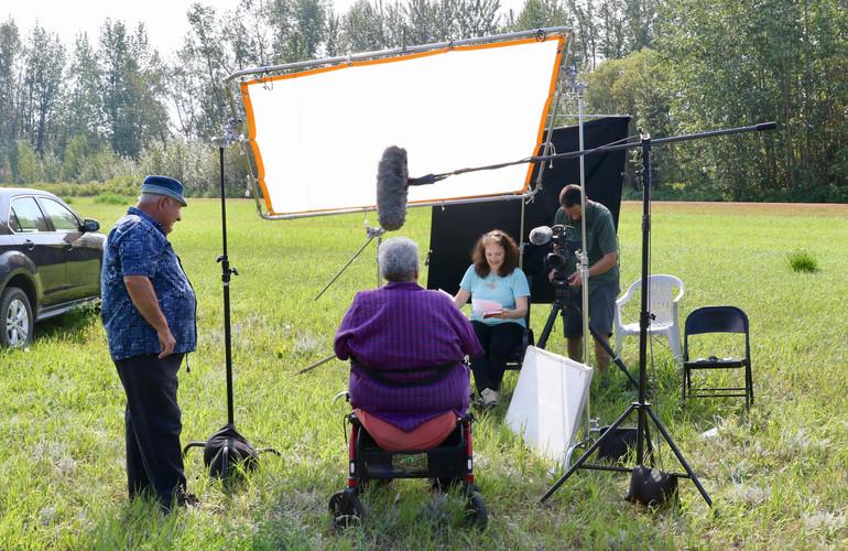 Filming Metis family, Northern Alberta, Cortina Productions