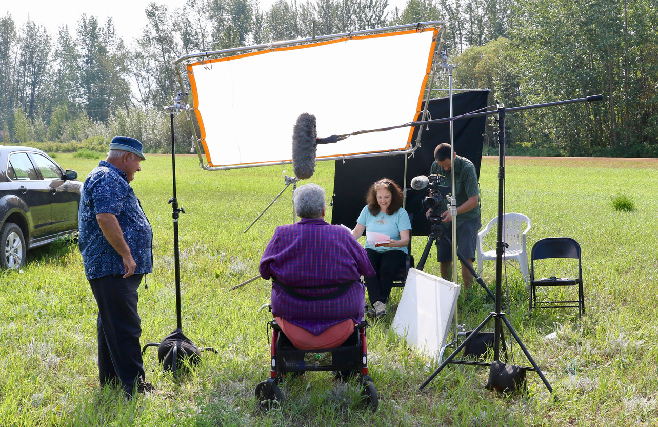 Filming Metis family, Northern Alberta, Cortina Productions