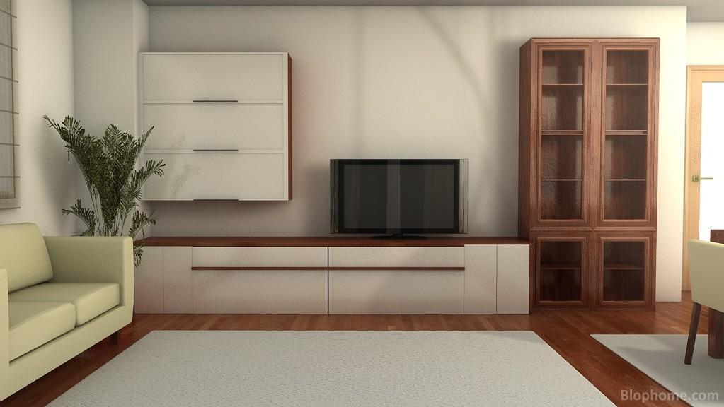 Mueble TV modular con vitrina