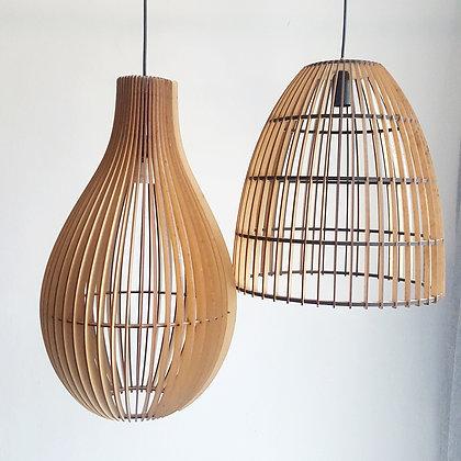 sculptural wooden ceiling pendant light