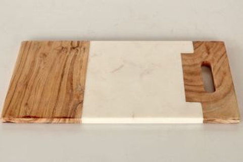 Oblong Wood and Marble Board