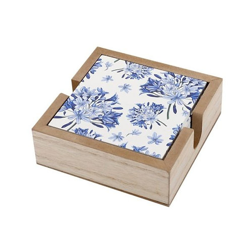 Wooden Box with 6 Coasters, Purple Agapanthus