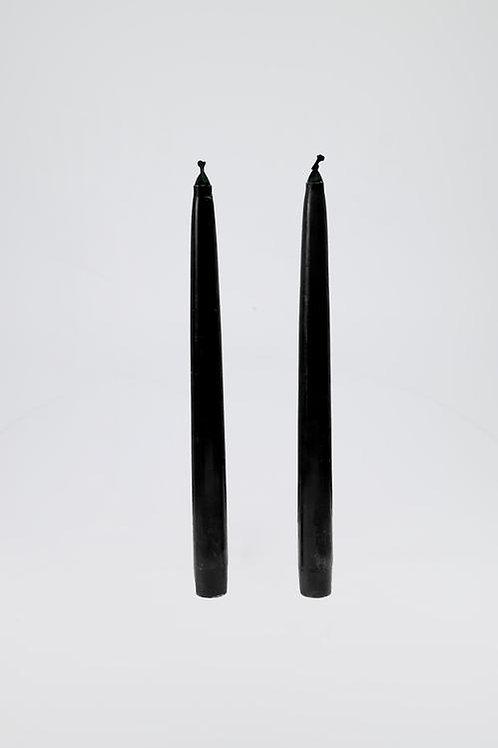 Black  Taper Dinner Candles set of 2