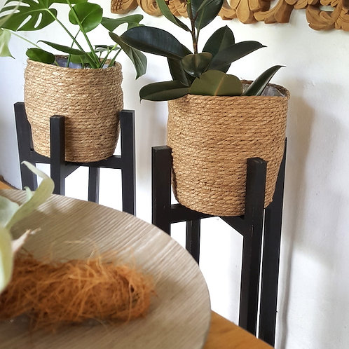Planter Basket with wooden stand -