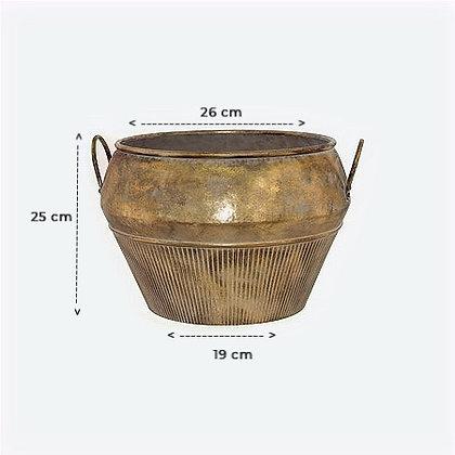 Bali Ha Handled Gold Pot Planter