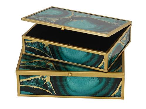 Decorative Glass Box Metal Frame Green Stone S/2