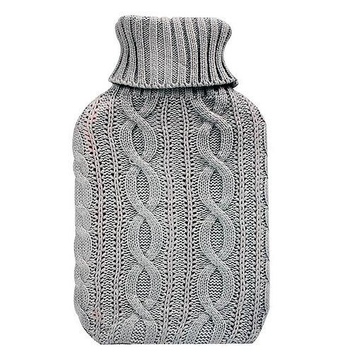 Cosy Hot Water Bottle - Grey Knit