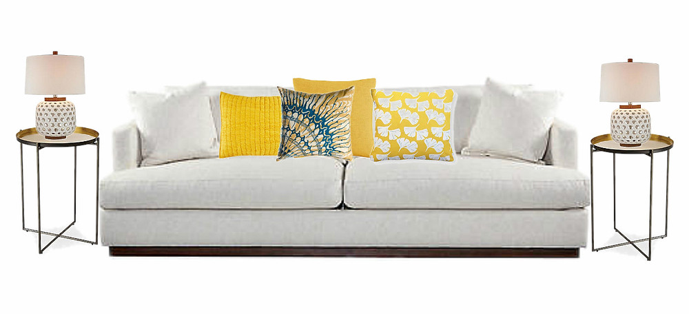 YELLOW -We freshened up this space with yellow. In this design we mixed and matched a quilted sham, patterned pillow a bit of a french yellow and a luxurious silk velvet pillow was added to the the mix