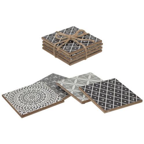 Kama Design Black and White set of 4 coasters- Woodka Interiors