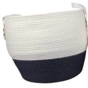 Large Two Toned Weaved Basket, blue and white