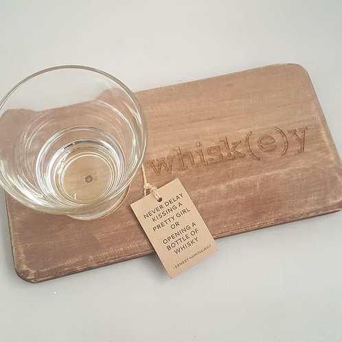 Whiskey board, with glass