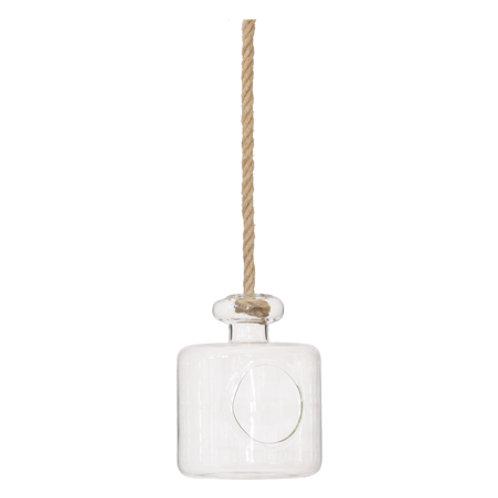 Hanging bottle vase on rope