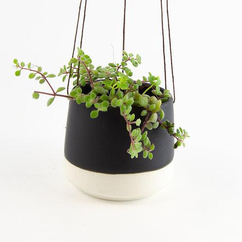 Small Ceramic Matt Black Hanging Pot