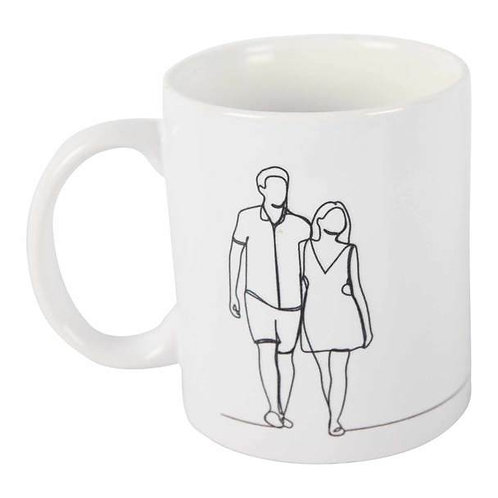 One-Line-Sketch Collectable Mug - Couple Walking