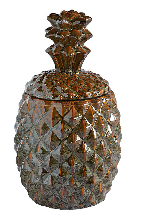 CERAMIC PINEAPPLE COOKIE JAR BROWN