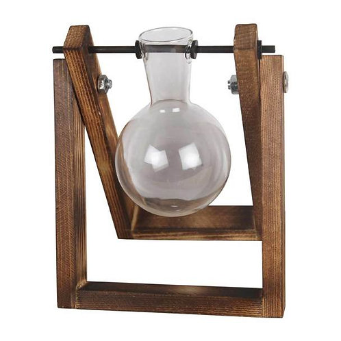 One Glass Vase Wooden Stand