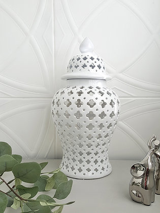 white cut out ginger jar-white