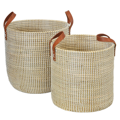 Seagrass Basket white Leather Handles set of 2