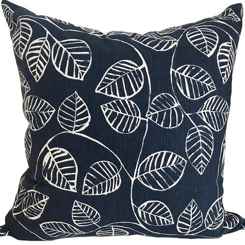 Blue leaf design scatter cushion