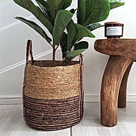 baskets with artificial plant with wooden stool woodka interiors