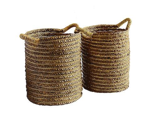 Gold Stripe and Natural Handmade Basket Woodka Interiors