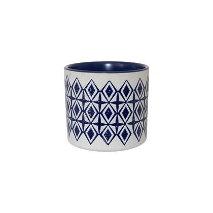 Aqua Blue And White Ceramic Planter
