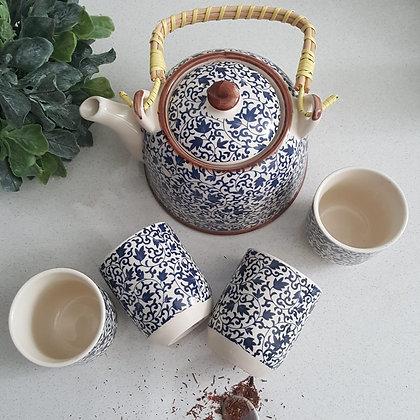Tea Pot Set With 4 Cups-  Delft Fusion Design