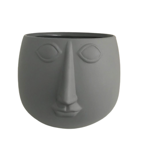 Face Pot Planter-grey