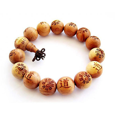 wood carved prayer bracelet