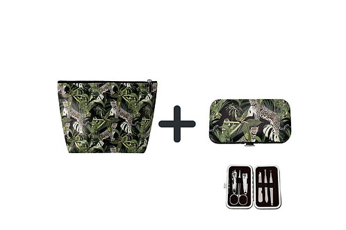 Cosmetic Bag and Manicure Set– Jungle Leopard