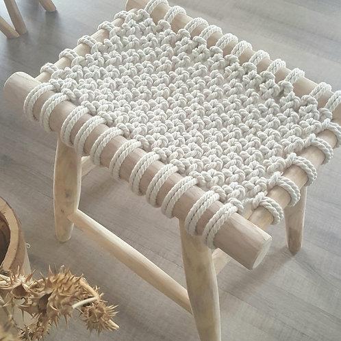 Woodka Interiors  bohemian vintage Macrame Knot Stool - Cream
