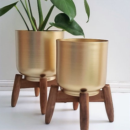 Gold Planter on Wooden Legs