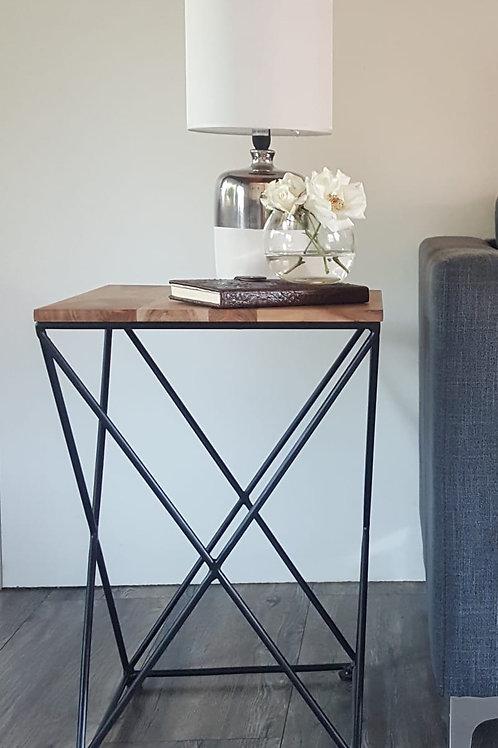 Acacia Wooden Top Side Table -Metal legs