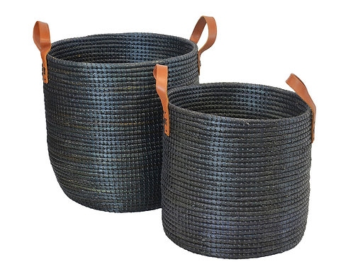 Seagrass Basket Black Leather Handles set of 2