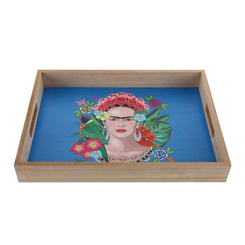 wooden tray frida kahlo print, blue woodka interiors