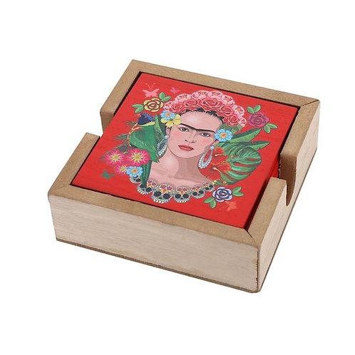 coaster set of 6- wooden box- frida kahlo design- woodka interiors