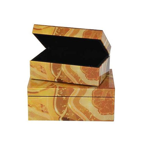 Glass Jewellery box agate yellow