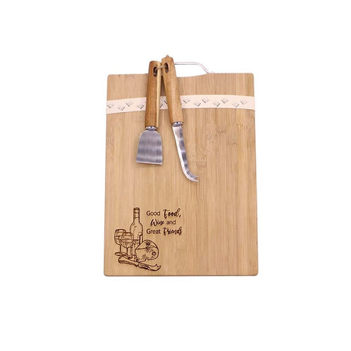 Bamboo Serving Board - Food, Wine and Friends