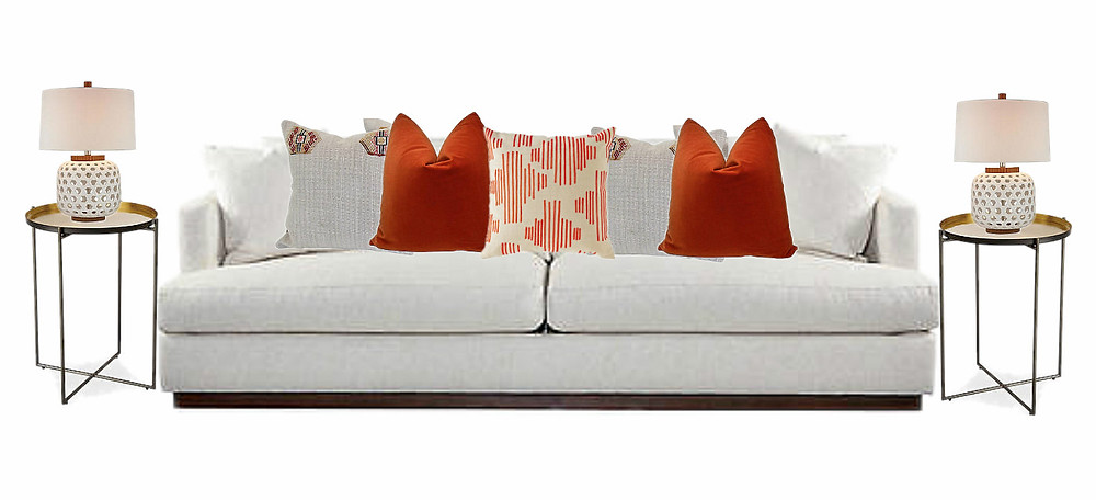 ORANGE- Refresh your room with this vibrant look. A woven texture and neutral wheat hue mixed with a botanical throw with embroidered detail. A velvet soft to the touch and lets not forget a gorgeous floral toile pattern
