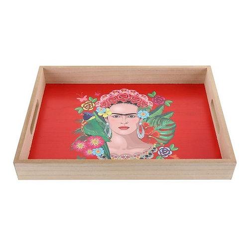 Wooden trays frida kahlo print- woodka interiors