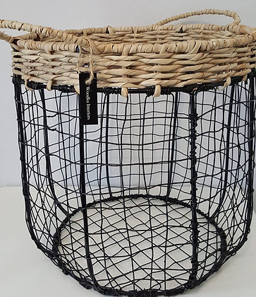 Metal basket with Wicker handle, black