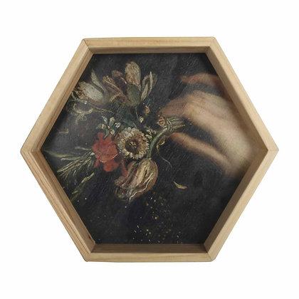 Wall art, Rijks museum print, wooden Hexagon Frame -  Still Life with Flowe