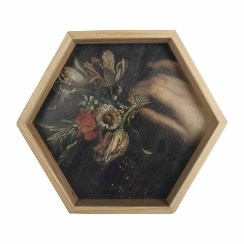 Wall art, Rijks museum print, wooden Hexagon Frame -  Still Life with Flowe