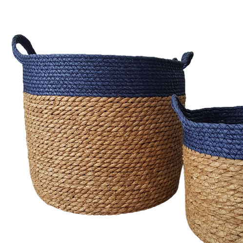 Blue and Natural Striped Baskets