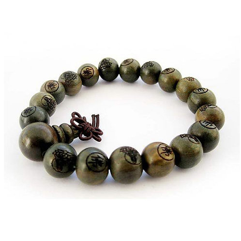 Green sandalwood buddhist prayer bracelet