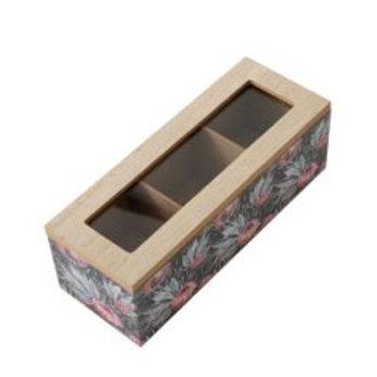 Wooden Tea Box, 3 Compartments, Dark Protea
