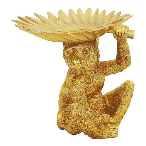Monkey Holding Palm Leaf - Gold