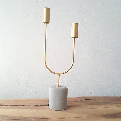 Candle Holder - Gold- Concrete - Base