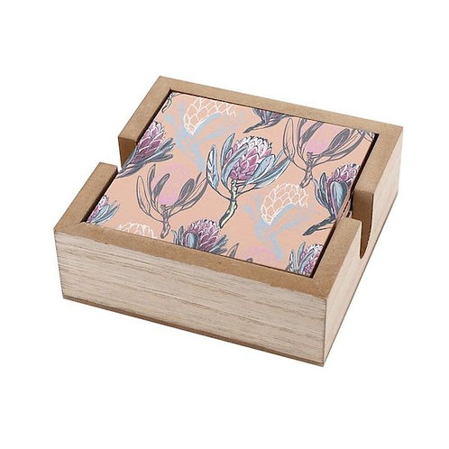 coaster set of 6 in wooden box- pink queen protea