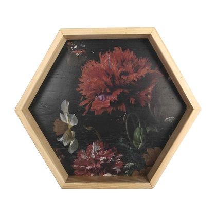 Wall art hexagon frame - still life with flowers & Glass